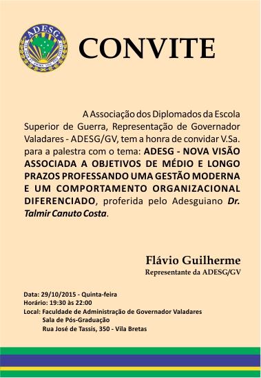Palestra da ADESG/GV no dia 29/10/2015
